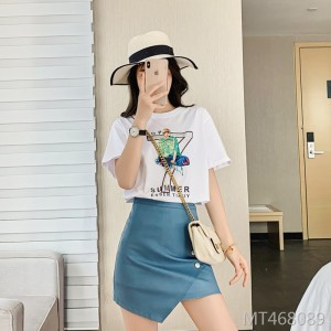 2020 summer women's cotton round neck white short-sleeved T-shirt women