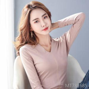 2020 spring new seamless small V-neck was thin long-sleeved t-shirt women