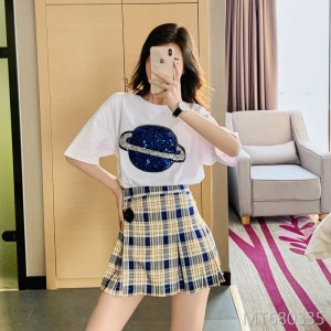 2020 Summer Sequin Earth Cotton Korean Women's Short Sleeve T-Shirt