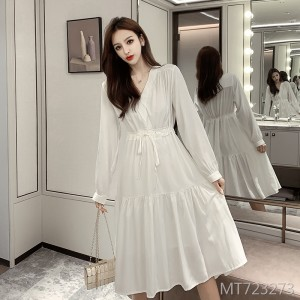 White Korean fashion drawstring waist sweet sweet fresh
