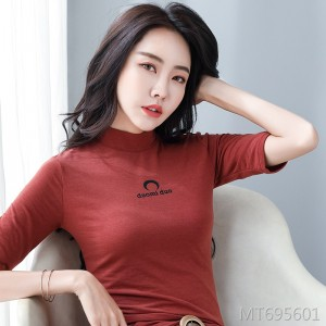 New thin high-elasticity small high-necked was thin seven-point sleeve t-shirt