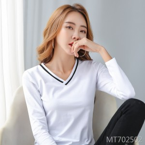 2020 Spring Women's Solid Color V-Neck Bottoming Shirt Top Long Sleeve T-Shirt
