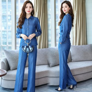 2020 spring new style slim slimming denim hot rhinestone two-piece suit women