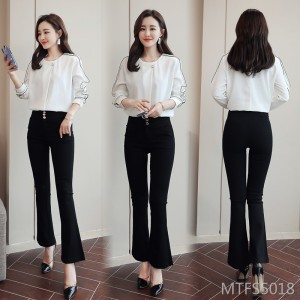 Women's Polyester White Temperament Slim 2020 Set