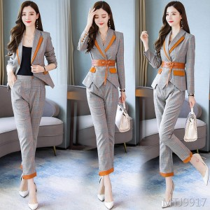 Checkered irregular suit two-piece suit