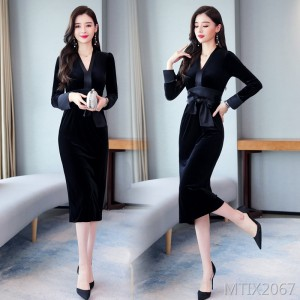 Dress V-neck long-sleeved waist mid-length temperament solid color