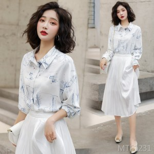 Front long back short fashion shirt floral loose long sleeve suit