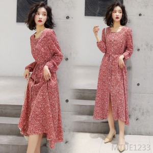 Floral single-breasted dress 2020 spring new mid-length