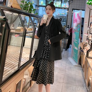 2020 spring and autumn Korean version of chic black small suit in long