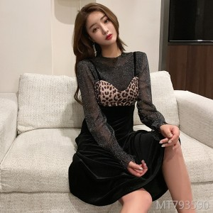 Net yarn base + leopard stitching suspender dress