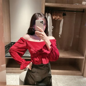 Velvet Top + High Waist Zip Waist Thin Hip Skirt