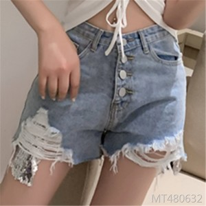 New wild jersey denim shorts