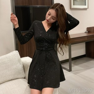 ins Hong Kong taste vintage V-neck waist strap super fairy temperament dress