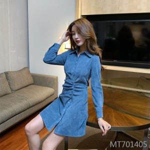 Lapel and Waist Waist Thin Sleeve Hip Long Sleeve Dress