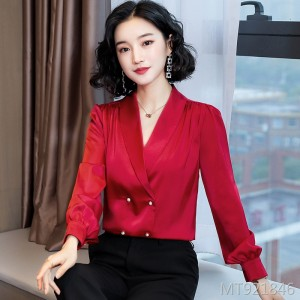 New French elegant long-sleeved V-neck pearl button shirt female satin top