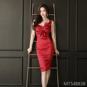 OL Fashion Sexy Pack Hip Sling Bow Dress