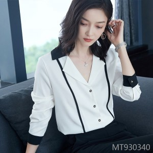 Black and white contrast color stitching temperament suit collar frosty OL chiffon shirt