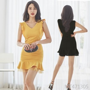 V-neck slim fit hip pocket hip dress