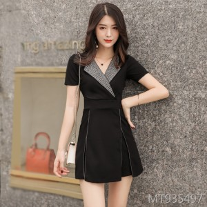 Little Fragrant Hot Rhinestone Suit Collar Short Sleeve Shorts Two Piece Set