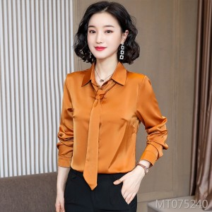 New shirt women's formal wear lapel tie shirt