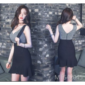 Paneled Plaid Strap Slim Fit Hip Ruffled Dress