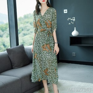 Big Bird Print Off Shoulder Waist Long Chiffon Dress
