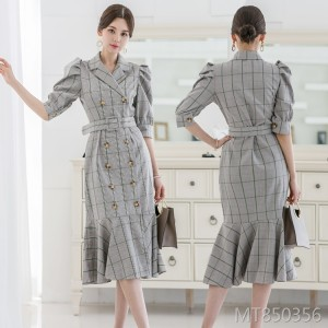 British style retro double-breasted suit collar plaid summer dress