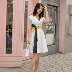 V-neck contrast stitching belted sleeveless umbrella dress