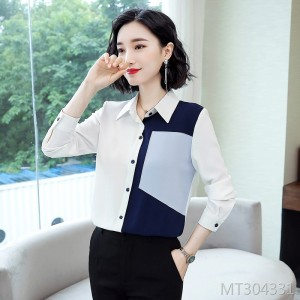 New stitching Han Fan top chiffon shirt