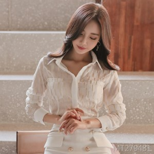 2020 spring new Korean version of chiffon shirt + skirt suit