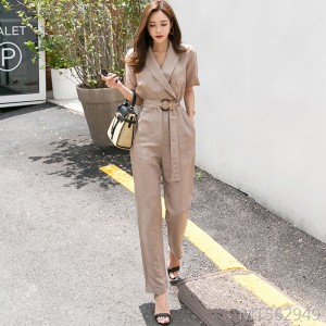 British suit collar waistband was thin OL temperament jumpsuit