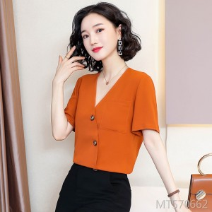 Shirt female ins tide cold V-neck French chiffon shirt