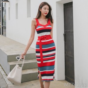 Oversized hip stripe sling dress
