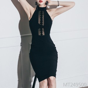 Sexy ladies nightclub slim slim black mid-length dress