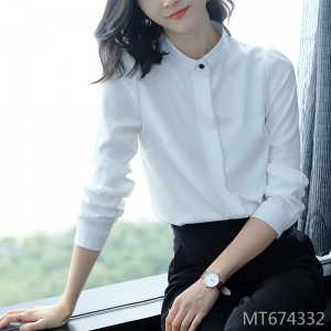 Mid-length professional shirt OL chiffon collar white shirt