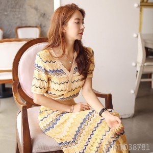 Two-piece vintage ice silk knit suit skirt