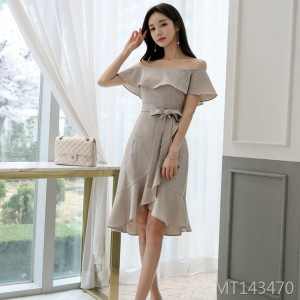 Off-the-shoulder strappy Korean style temperament ladies lace fishtail dress