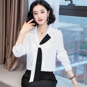 Women's shirt v-neck tie professional top