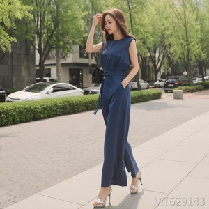 Lace Up Waist Jumpsuit Sleeveless High Waist Wide Leg Pants