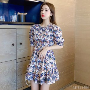 Puff Sleeve Retro Small Fresh Floral Chiffon Dress