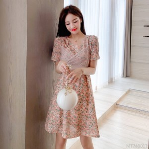 Mesh stitching floral chiffon dress