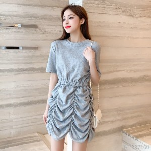 Summer dress Han Fan small man waist slimming a short-sleeved dress
