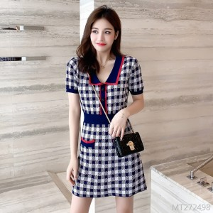French Girl Plaid Short Sleeve Knit Dress