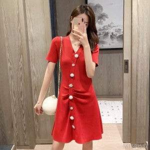 Xiaoxiangfeng Waist Waist Thin A-line Short Sleeve Knit Dress