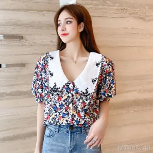 Embroidered doll collar floral chiffon shirt