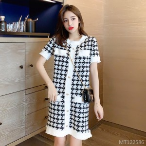 Little Fragrant Houndstooth A-Line Knit Dress