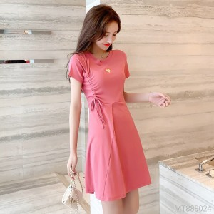 Small fresh drawstring cotton short-sleeved a-line T-shirt dress