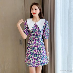 Doll Collar Floral Sleeve Short Sleeve Chiffon Dress