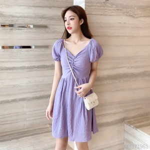 Thin French Girl Puff Sleeve Short Sleeve Dress
