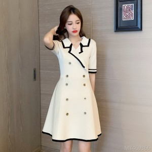Small Fragrance Short Sleeve A-Line Knit Dress